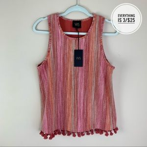 W5 Multicolored Tank Top Blouse with Fringe SM